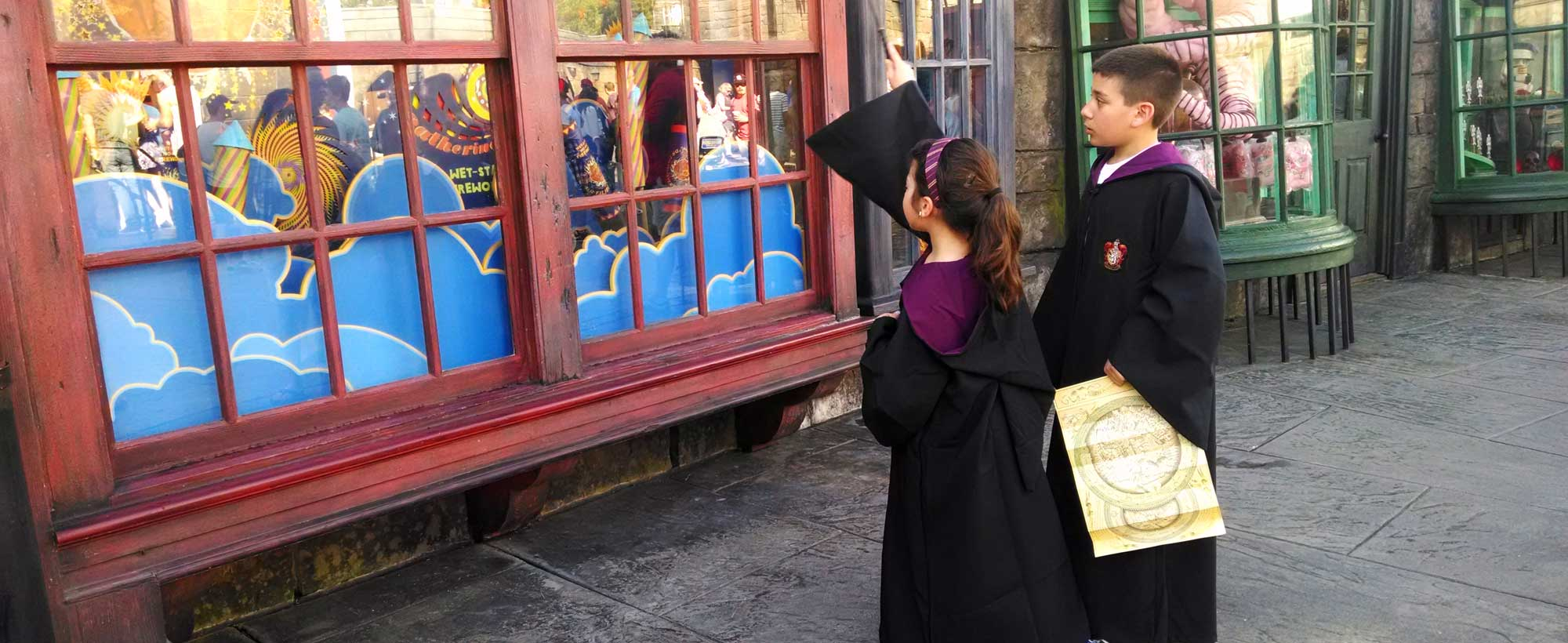 The shop windows in Hogsmeade