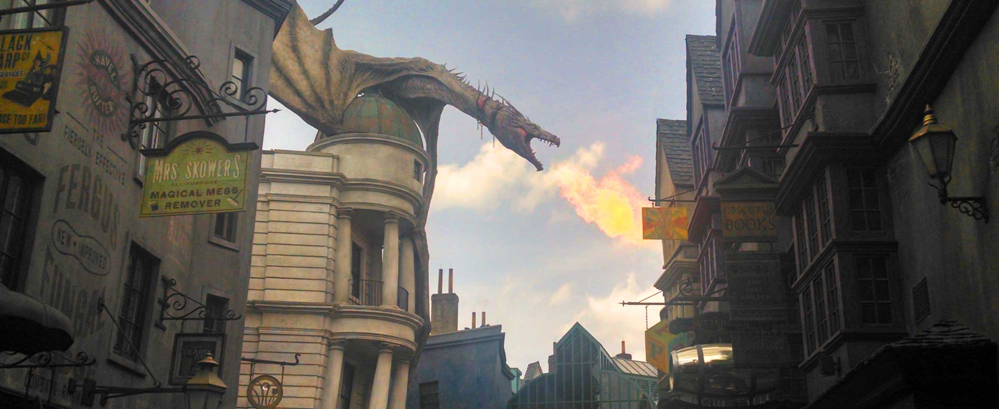 The dragon on top of Gringotts Bank