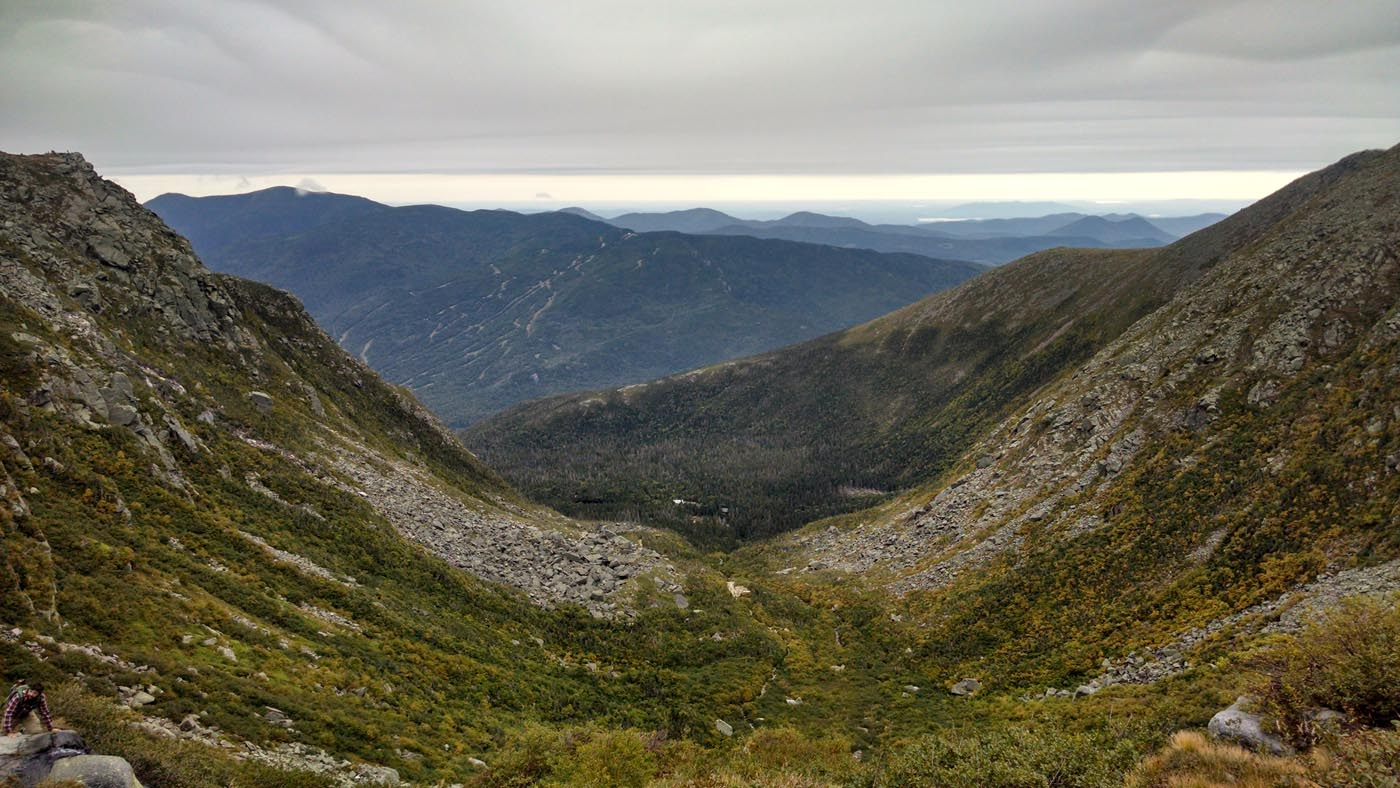 The from the top of Tuckerman's Ravine on Mount Washington